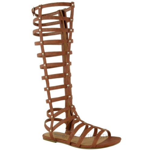 LADIES WOMENS CUT OUT GLADIATOR SANDALS FLAT KNEE BOOTS STRAPPY SIZE | eBay