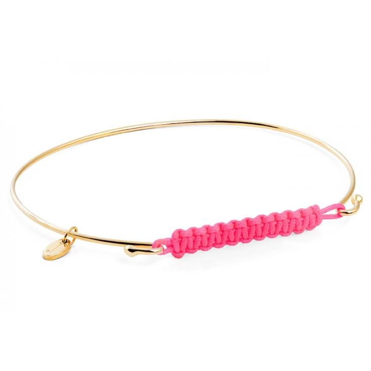 Yellow Gold Neon Pink Knot Bracelet by Jada, Designer Jewellery, Kabiri Jewellery Store Online