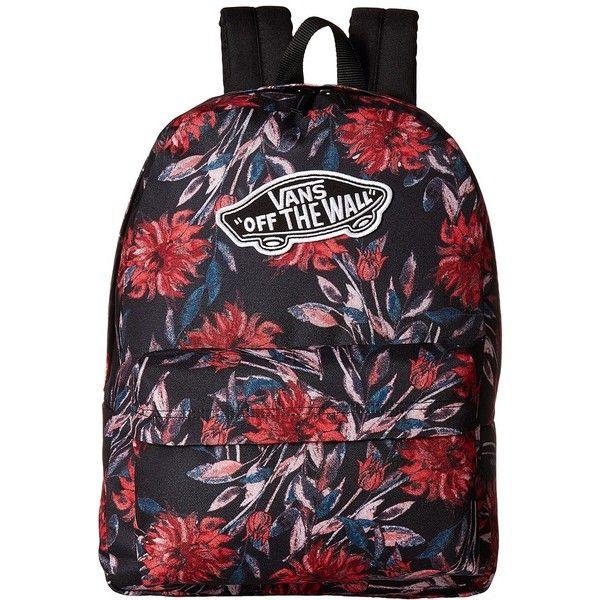 Vans Realm Backpack (Black Dahlia) Backpack Bags (63 CAD) ❤ liked on Polyvore featuring bags, backpacks, strap backpack, knapsack bag, day pack backpack, handle bag and daypack bag