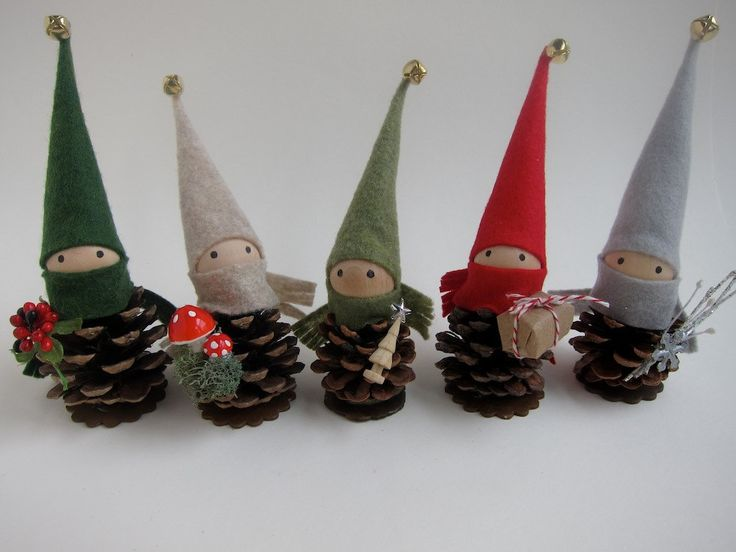 Pinecone Elf Ornament Set of 5 -- Woodland Holiday Decor - Forest Gnomes - Tabletop Mantel Tree - Stocking Stuffer. $42.00, via Etsy.