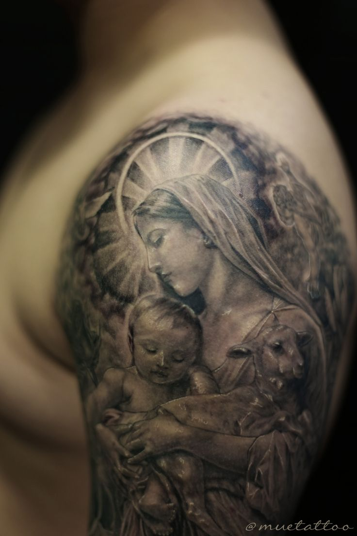 Mother mary tattoo. st maria, bng style.
