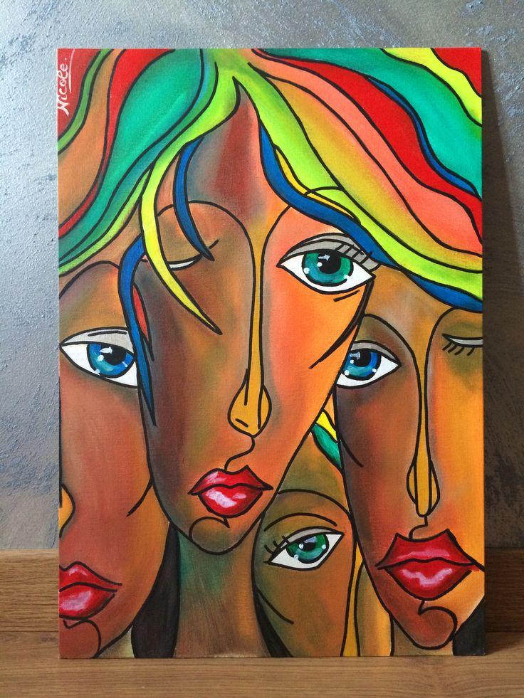 """Spettatori"" 50x35 acrylic  on canvas"
