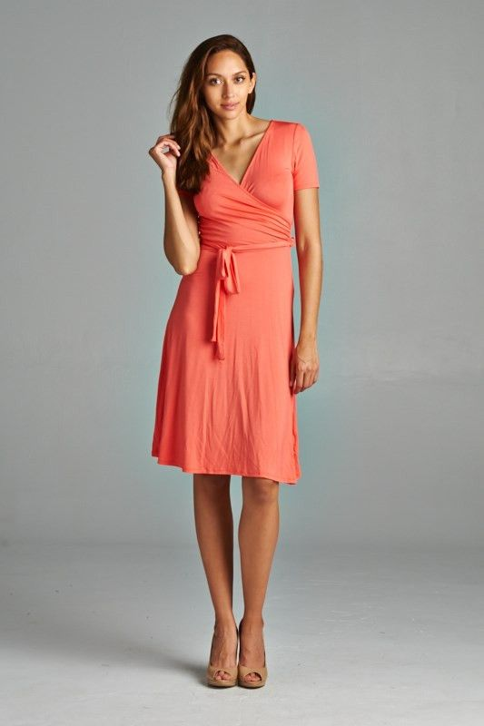 Faux Wrap Midi Dress - 4 Colors