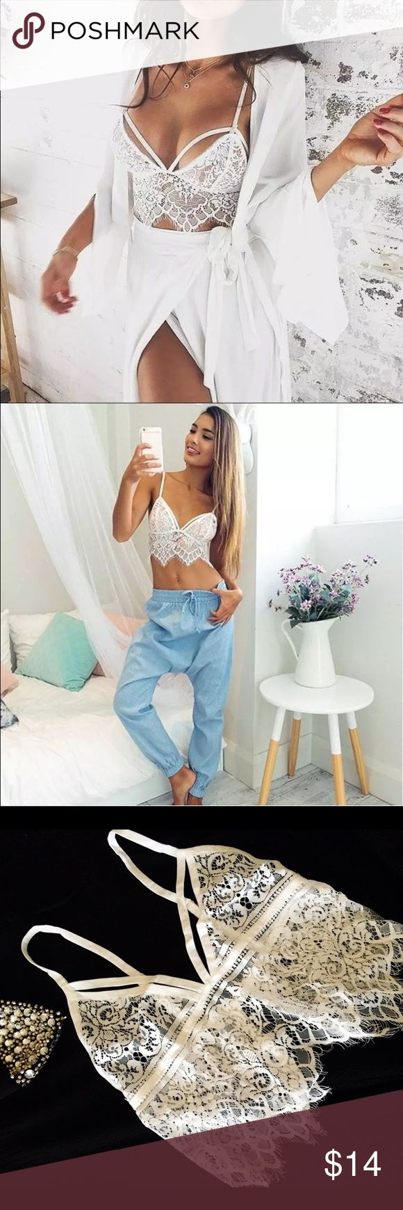ONE LEFT‼️Gorgeous Sheer underwear crop top White Sheer lace underwear crop top, medium size. Looks AMAZING and very sexy as underwear. Also it can be worn as a top with bra. It will fit size Small-Medium depending on your cup size. 34-36 B-C.                                                   No trades ❌ Please make all  reasonable offers through OFFER BUTTON✅ Questions about product are welcome✅ Not a Zara, just used for attention. Zara Tops Crop Tops