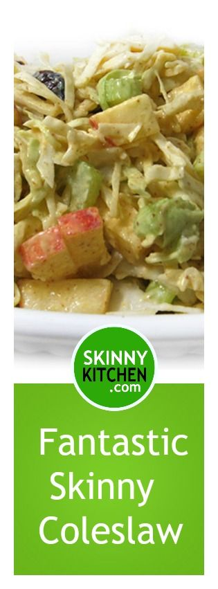 My Favorite Skinny Coleslaw. Chockfull of cabbage, apples, celery, cranberries all tossed in a skinny honey mustard dressing! Each serving has 55 calories, 1g fat & 2 SmartPoints. http://www.skinnykitchen.com/recipes/fabulous-fall-skinny-coleslaw/