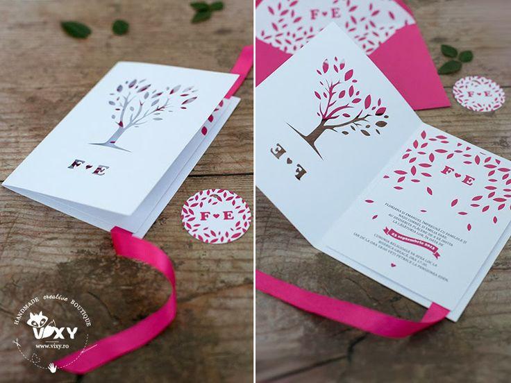 Tree paper cut, pink / magenta wedding invitation.