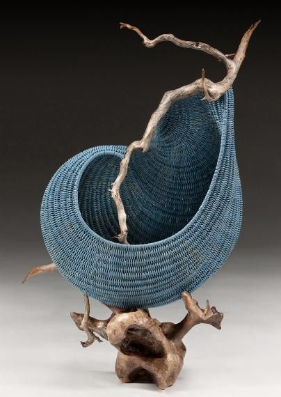 ''Beach Music'' sculptural basket / stained reed with driftwood / 18''h x 11''w x 10''d / Deborah Smith