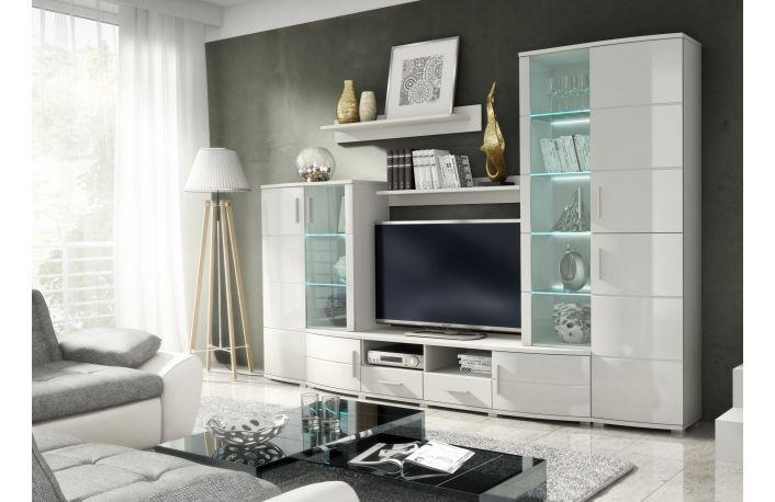 Mueble salón blanco estilo moderno con vitrina y luces LED