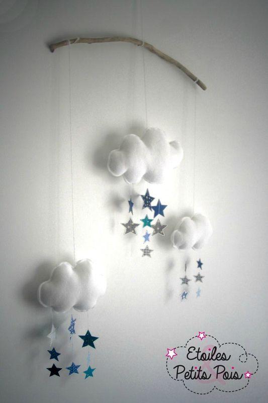 Mobile décoratif nuagess et pluie d'étoiles #etoilesetpetitspois #mobilenuage #chambre douillettes