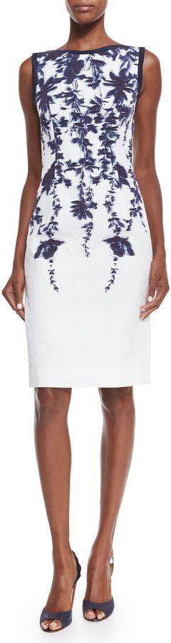 Carolina Herrera Sleeveless Floral-Print Sheath Dress, Navy/Ivory