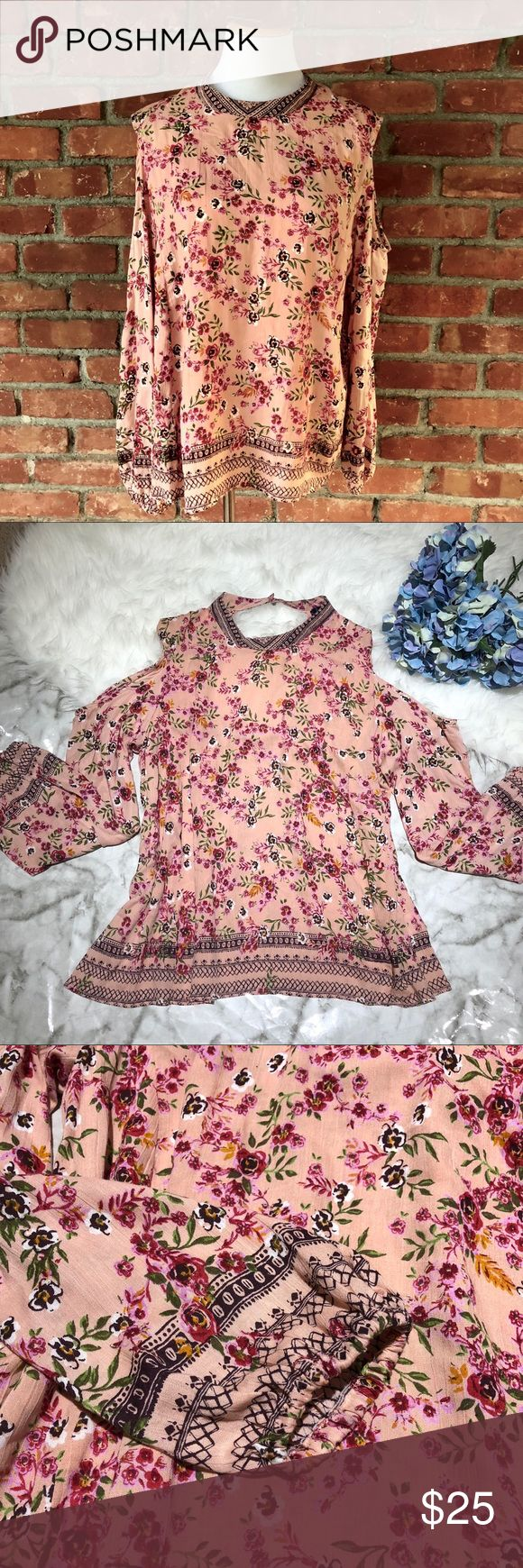 Blue Rain Floral Cold Shoulder Top EUC.   Approx. Measurement When Laying Flat: Total Length: 28in Chest Width: 24in Hip Width: 32in Waist Width: 26in Armhole Depth: 10in Sleeve Length: 19in Pit to Pit: 23in  💖Add this to a bundle 💚Don't like the Price? Send me an offer!  💜IG: mayra_alexandra_thrifts ❤️Please ask all questions before buying. Item not fitting does not warrant a low review. Francesca's Collections Tops Blouses