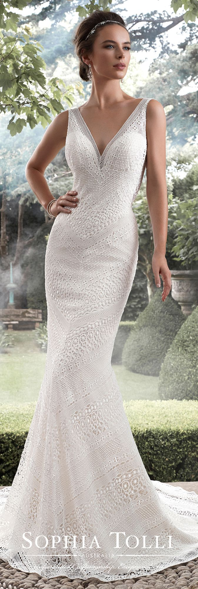 Sophia Tolli Fall 2017 Wedding Gown Collection - Style No. Y21742 Aquarius - sleeveless guipure lace fit and flare wedding dress with deep-V neckline and illusion lace V-back