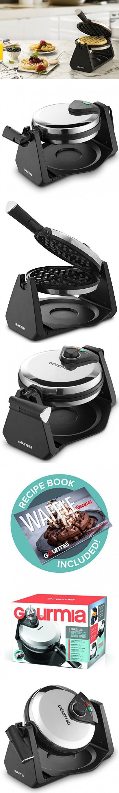 Gourmia Gwm460 Stainless Steel Waffle Maker  180 Degree Fast & Easy  Flipping, Foldable Handle