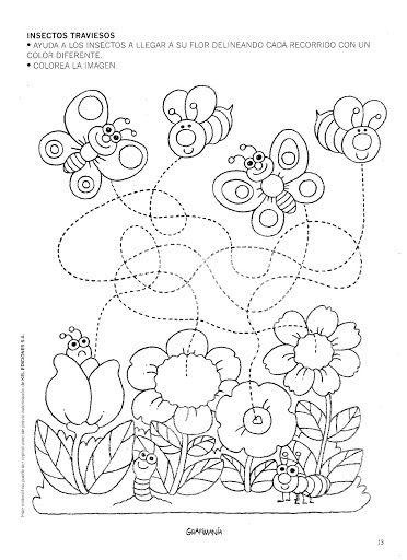 Aide chacun des papillons à retrouver son chemin... Labyrinthe et pré-écriture