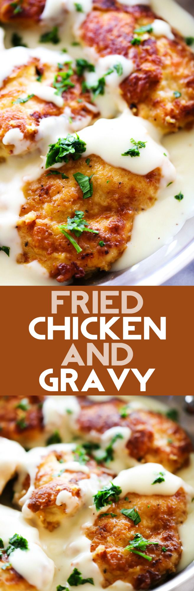 This Fried Chicken and Gravy is so simple and truly a spectacular dish! The chicken has a pan-fried batter that crisps and browns up beautifully and is then baked to tender perfection. The gravy is flavorful and the perfect compliment to the chicken.