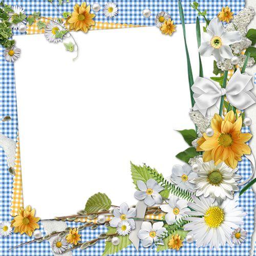 cadres fleurs tatakiki spring flower corner on blue. Black Bedroom Furniture Sets. Home Design Ideas