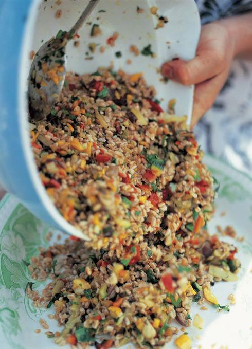 Farro Salad | Jamie Oliver Recipes ... Italian-style nutty grain tossed with herbed veggies. Farro can easily be substituted with couscous, pearl barley or even rice.