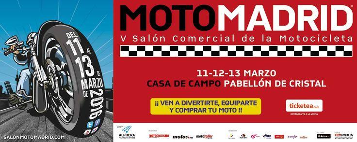 Campaña de publicidad en autobuses de Moto Madrid 2016, en el Pabellón de Cristal de la Casa de Campo de Madrid a partir del 11 de marzo 2016.