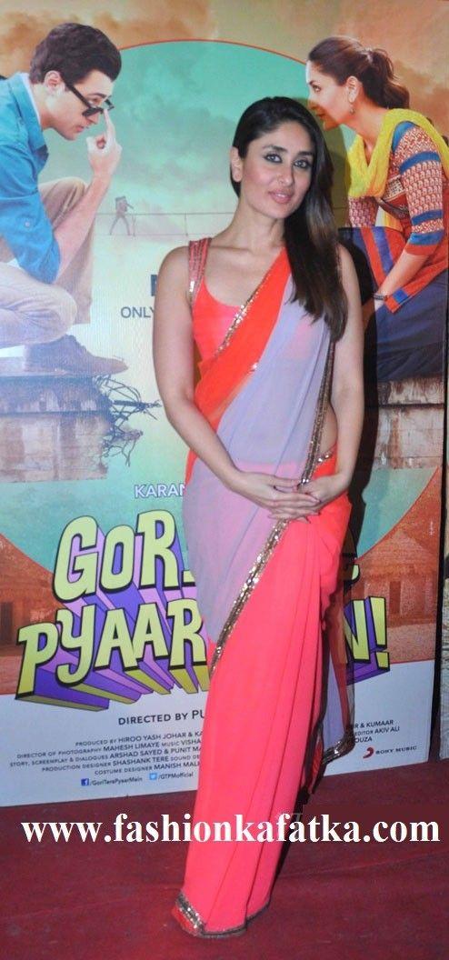 Kareena Kapoor In Saree At Nach Baliye Promoting Gori Tere Pyaar Mein,Kareena kapoor style red,pink & gray shaded saree,simple saree,buy saree online