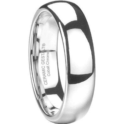 Platinum Finish Cobalt Ring. 6mm width. Domed & Polished. Timeless wedding band design. (avail. Sizes 5 to 14): Jewelry: Amazon.com