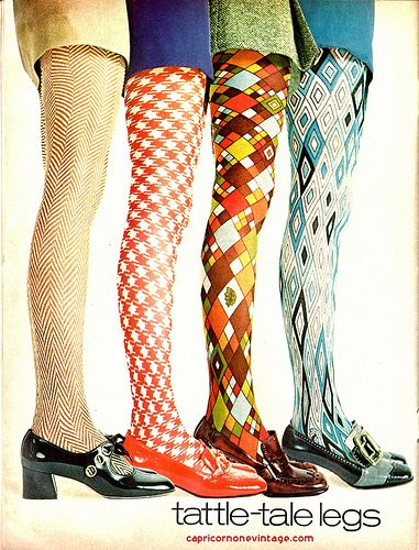 Teen magazine - Dec issue 1969 -- patterned tights - the really wild ones were pretty much on their last gasp by 1969 --