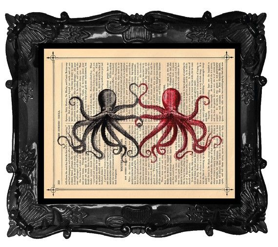 Love.Octopuses Art, Elephant Art, Sea Creatures, Antiques Book, Octopuses Lovers, Octopuses Prints, Art Prints, Book Pages, Dictionary Art