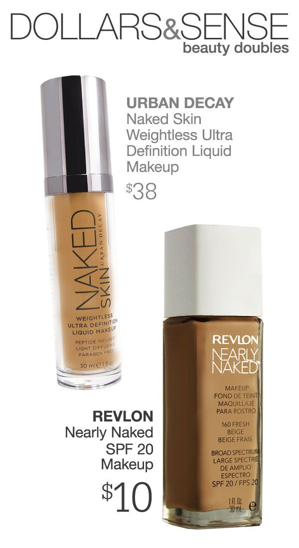 Urban Decay's Naked Skin foundation, or Revlon's Nearly Naked foundation for a third of the price?--plus, Revlon's version has sunscreen! #beautypedia #makeupdupe