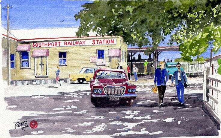 Southport Railway Station, Gold Coast, Australia in 1962. (Artist:  Kevin Rogers)