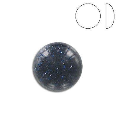 Cabochon semi-precious, 15mm, round, blue gold stone
