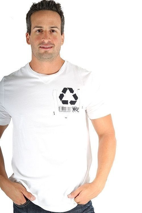 Parasuco White Recycle Reduce Rewear Environmental 9BARKO Mens T Shirt $71 CAD Now 75% OFF