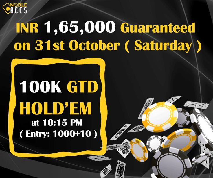 INR 1,65,000 Guaranteed on NobleAces.com this Saturday between 9:30 PM and 10:30 PM. Already more than 70 players have won the ticket for Monthly 100K GTD Hold'em through freeroll satellites. ‪#‎SaturdayPoker‬ ‪#‎WeekendPoker‬
