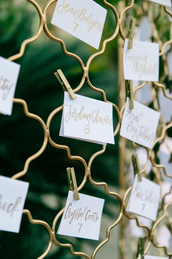 Gold clothespin escort card display: http://www.stylemepretty.com/california-weddings/palm-springs/2016/04/14/you-will-adore-the-modern-details-in-this-palm-springs-stunner/ | Photography: Photography by Paulina - http://www.photographybypaulina.com/