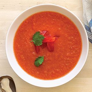 In sizzling tropical summers, spicy foods have a paradoxically cooling effect. This aromatic soup is traditionally served hot, but we've chilled our version.