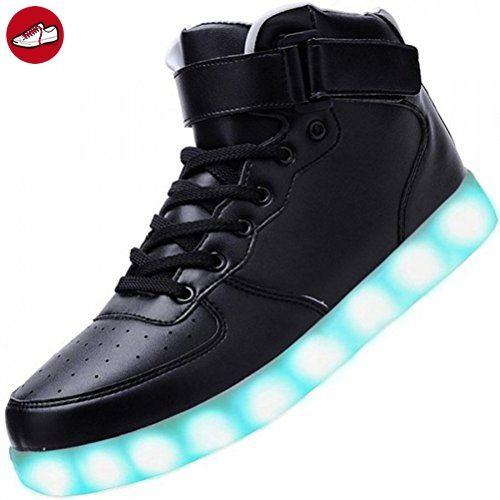 (Present:kleines Handtuch)High Top mit Velcro Schwarz 36 EU für Sneaker Schuhe mode Aufladen JUNGLEST Unisex-Erwachsene Farbe LED Leuchtend Damen 7 Turnschu ri1IJ