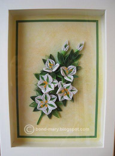 Мамин помощник, квиллинг открытка с лилиями