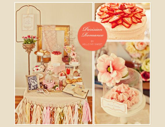 Vintage Parisian Romantic Bridal Shower dessert table perfect for engagement parties, bridal showers, weddings, baby showers or a birthday from @Hello My Sweet    http://www.hellomysweet.me