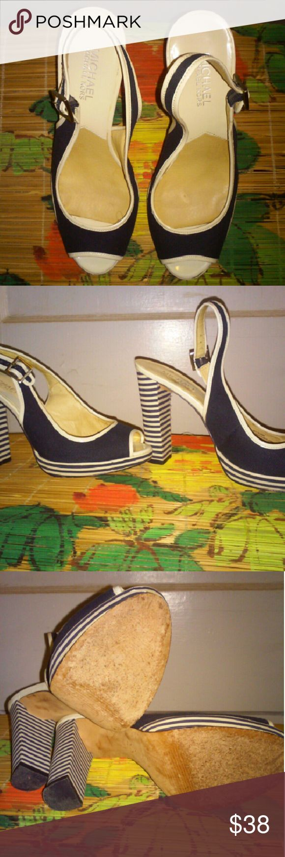 "Michael Kors striped heels sandals Navy white tectile/leather, very comfortable. The heel is appx. 4.5"". Leather outsole. Looks and feels like new. Please look at pictures. Michael Kors Shoes Sandals"