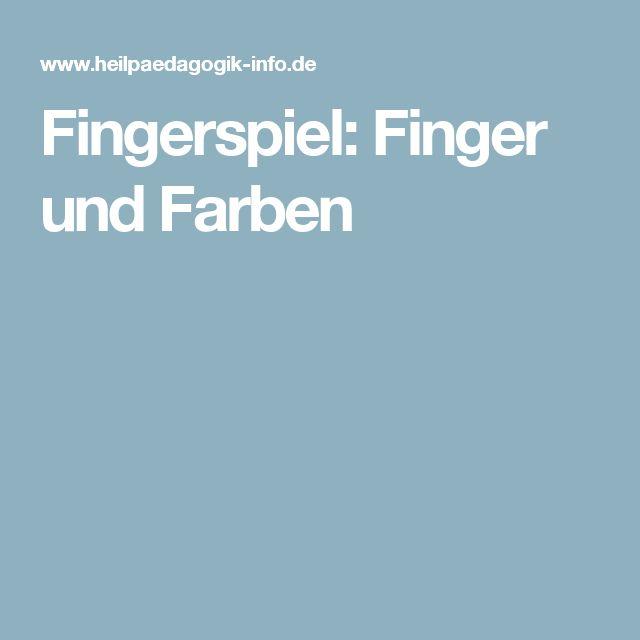 Fingerspiel: Finger und Farben