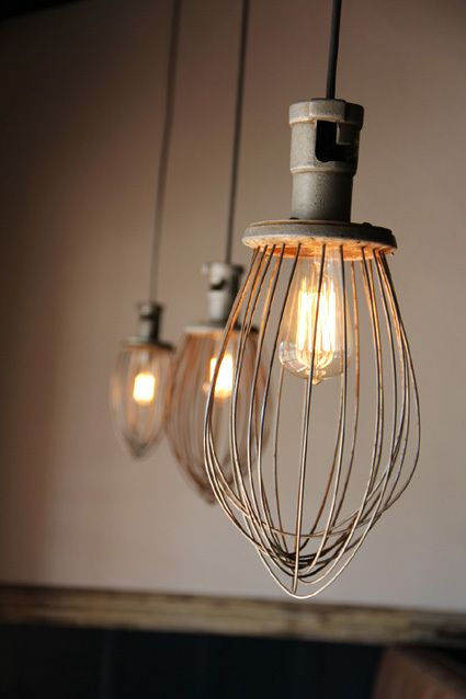 looks to me like lamps made out of the large floor mixer whisk parts...awesome!