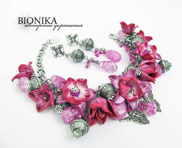 Комплект из полимерной глины с цветами и бусинами. Браслет,серьги. - фуксия, розовый, лиловый. jewelry from polymer clay, bracelet, earring, handmade