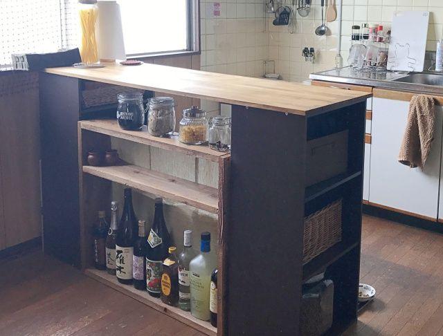 カラーボックスで作る 両面収納 付きキッチンカウンター