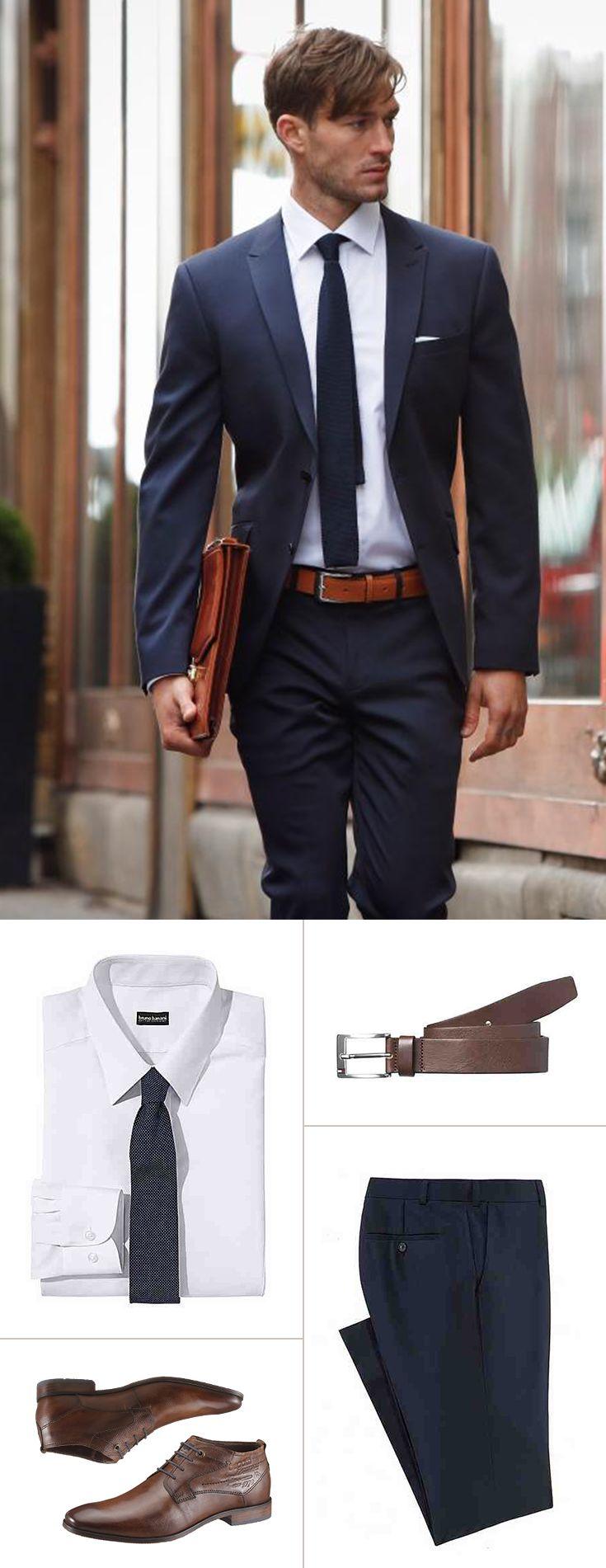 Dunkelblau ist die Klassiker-Farbe für deinen Businesslook – und alles andere als langweilig. Der Suit von Bruno Banani betont mit seinem Slim-fit-Schnitt stilvoll deine Figur, mit einer Krawatte und dem Einstecktuch setzt du Farbakzente. Die braunen Business-Stiefeletten runden dein Outfit ab.