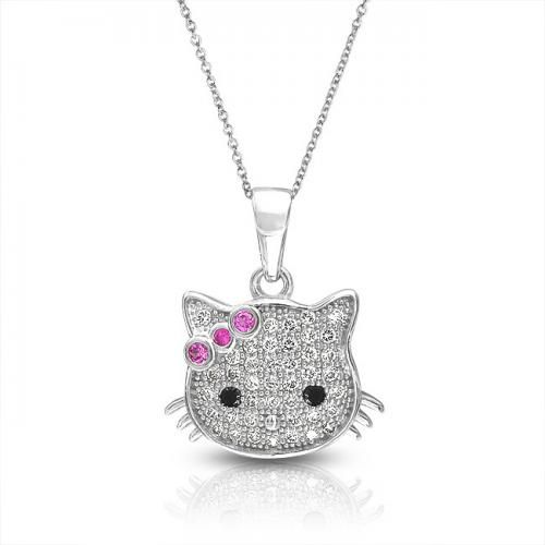 Cool Kitty 925 Silver Girls Pendant Micropave CZ Ruby Color Bow 16in
