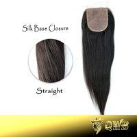 QWB Free Shipping Straight 4''x3.5'' (H/L) Silk Base Clousre Top Grade Brazilian Virgin Hair Hidden Knots Closure