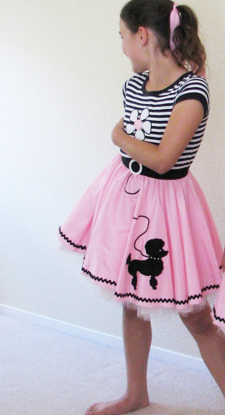 50 S Poodle Skirt Outfit Candy Pink And Stripes Childrens Size 10