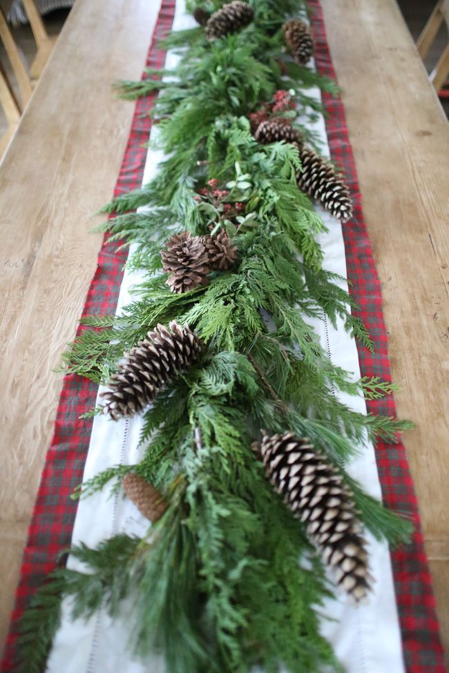 Holiday Table pine cones plaid runner farmhouse table