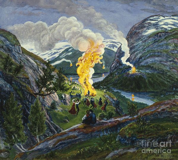 Landscape Art Print featuring the painting Midsummer Fire by Nikolai Astrup