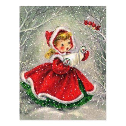 1950s Vintage Christmas Girl In Dress Holiday Postcard