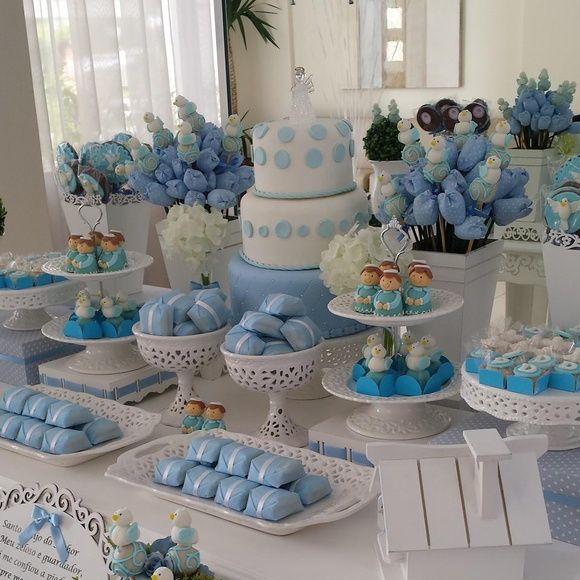 Decoração Batizado Azul e Branco Fina