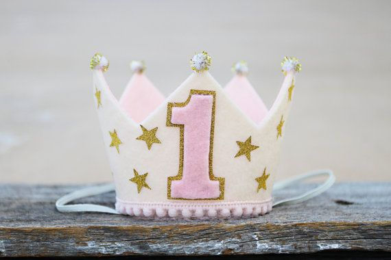 Girls Twinkle Star Birthday Crown - 1st Birthday Pink and Gold Crown - Cake Smash - Photo Prop